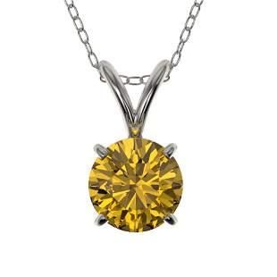 0.75 ctw Certified Intense Yellow Diamond Necklace 10k