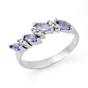 0.75 ctw Tanzanite & Diamond Ring 18k White Gold -