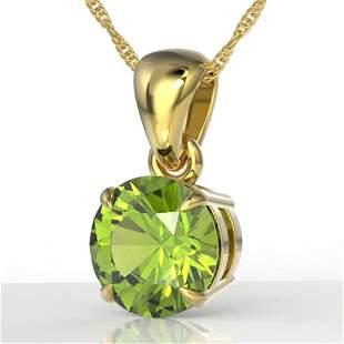 2 ctw Peridot Designer Necklace 18k Yellow Gold -