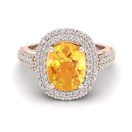 3.50 ctw Citrine & Micro Pave VS/SI Diamond Ring 14k