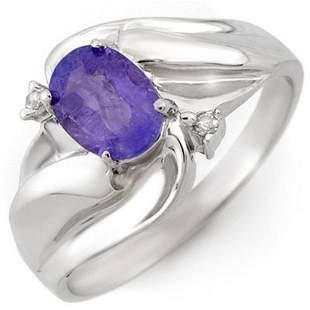 1.02 ctw Tanzanite & Diamond Ring 18k White Gold -