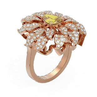 2.67 ctw Canary Citrine & Diamond Ring 18K Rose Gold -