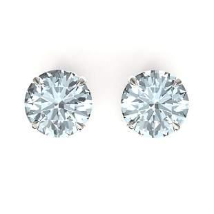 4 ctw Sky Blue Topaz Designer Stud Earrings 18k White