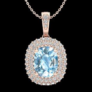 3 ctw Blue Topaz & Micro Pave VS/SI Diamond Necklace