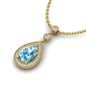 2.25 ctw Sky Blue Topaz & Micro Pave Diamond Necklace
