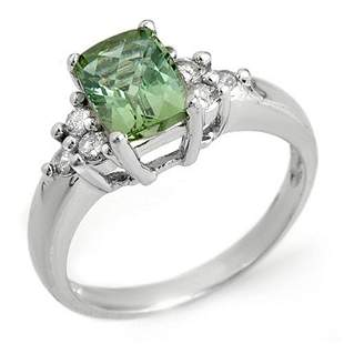 2.55 ctw Green Tourmaline & Diamond Ring 14k White Gold