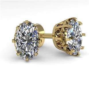 .0 ctw VS/SI Oval Cut Diamond Stud Earrings Vintage