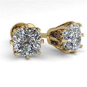 1.0 ctw VS/SI Cushion Cut Diamond Stud Earrings 14k