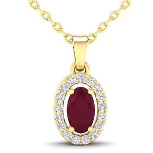 0.51 ctw Ruby & Micro Pave VS/SI Diamond Necklace 18k