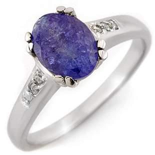 1.35 ctw Tanzanite & Diamond Ring 10k White Gold -