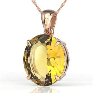 9 ctw Citrine Designer Solitaire Necklace 14k Rose Gold