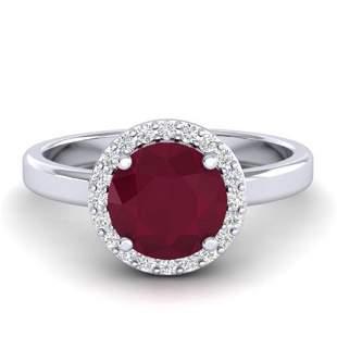 2 ctw Ruby & Halo VS/SI Diamond Micro Pave Ring 18k