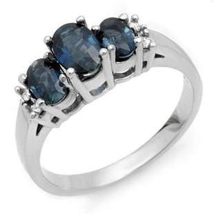 1.34 ctw Blue Sapphire & Diamond Ring 18k White Gold -