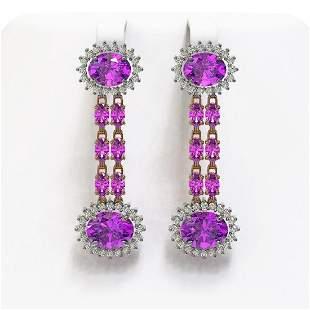 8.19 ctw Amethyst & Diamond Earrings 14K Rose Gold -