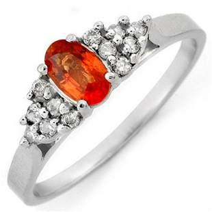 0.74 ctw Orange Sapphire & Diamond Ring 18k White Gold