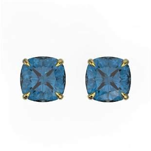 3 ctw Cushion London Blue Topaz Designer Stud Earrings