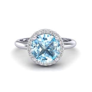 2.70 ctw Sky Blue Topaz & Micro VS/SI Diamond Ring 18k