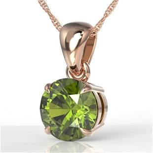 2 ctw Green Tourmaline Designer Solitaire Necklace 14k