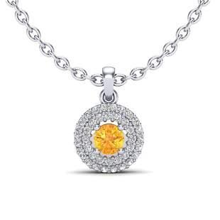0.60 ctw Citrine & Micro VS/SI Diamond Necklace Halo