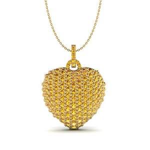 5 ctw Micro Pave Yellow Sapphire Designer Heart