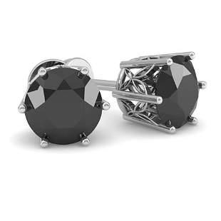 1.0 ctw Black Certified Diamond Stud Earrings 18k White