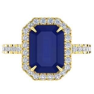 5.33 ctw Sapphire & Micro Pave VS/SI Diamond Ring 18k