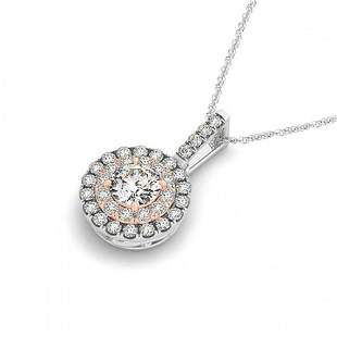 0.55 ctw Certified SI Diamond Halo Necklace 14k 2Tone