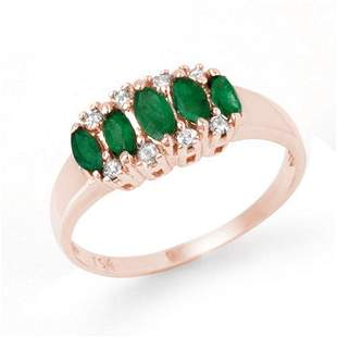 0.77 ctw Emerald & Diamond Ring 18k Rose Gold -