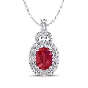 2.50 ctw Ruby & Micro Pave VS/SI Diamond Necklace 14k