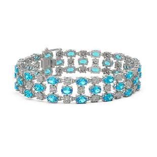 25.07 ctw Swiss Topaz & Diamond Bracelet 10K White Gold