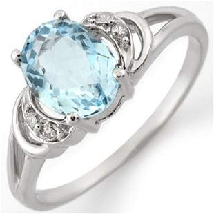 1.56 ctw Aquamarine & Diamond Ring 14k White Gold -