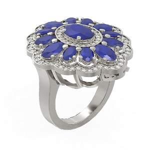8.61 ctw Sapphire & Diamond Ring 18K White Gold -