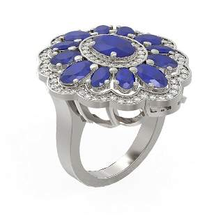 .61 ctw Sapphire & Diamond Ring 18K White Gold -