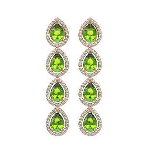 7.46 ctw Peridot & Diamond Micro Pave Halo Earrings 10k