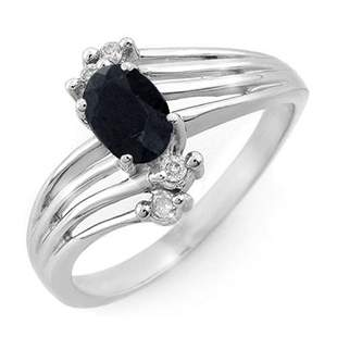 0.65 ctw Blue Sapphire & Diamond Ring 10k White Gold -