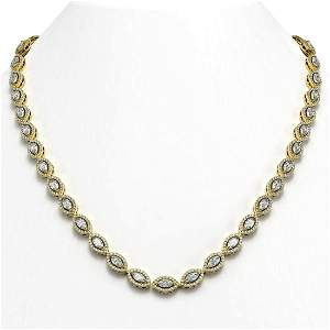 15.74 ctw Marquise Cut Diamond Micro Pave Necklace 18K