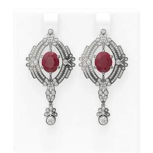 11.24 ctw Ruby & Diamond Earrings 18K White Gold -