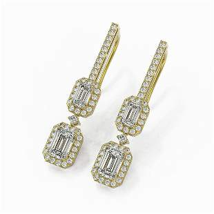 2.55 ctw Emerald Cut Diamond Designer Earrings 18K