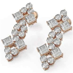 4 ctw Princess Cut Diamond Designer Earrings 18K Rose