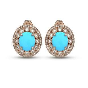 9.21 ctw Turquoise & Diamond Victorian Earrings 14K