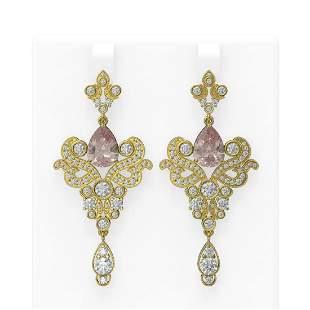 10.1 ctw Morganite & Diamond Earrings 18K Yellow Gold -