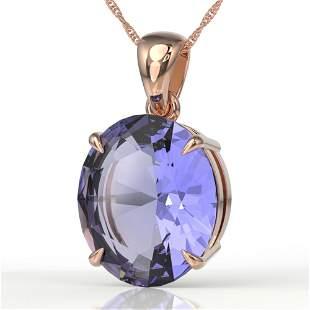 9 ctw Tanzanite Designer Solitaire Necklace 14k Rose