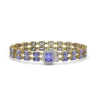 16.08 ctw Tanzanite & Diamond Bracelet 14K Yellow Gold