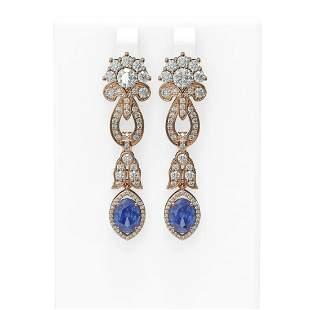 8.14 ctw Tanzanite & Diamond Earrings 18K Rose Gold -