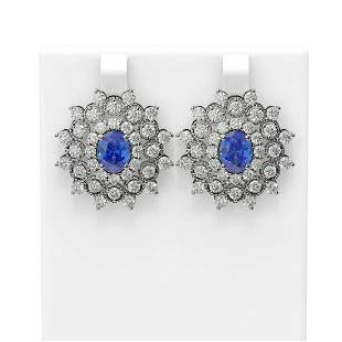 8.88 ctw Tanzanite & Diamond Earrings 18K White Gold -