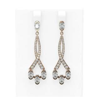 5.45 ctw Oval Diamond Earrings 18K Rose Gold -