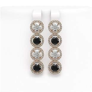 5.58 ctw Black & Diamond Micro Pave Earrings 18K Rose