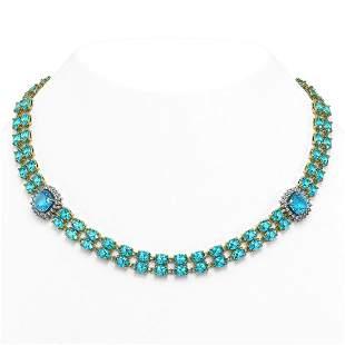 38.95 ctw Swiss Topaz & Diamond Necklace 14K Yellow