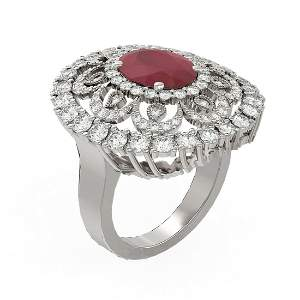 6.41 ctw Ruby & Diamond Ring 18K White Gold -
