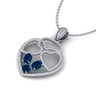 3 ctw Sapphire & Micro Pave Designer Heart Necklace 14k